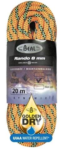 Lezecké vybavení - BEAL Rando 8mm golden dry 48m